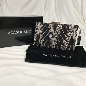 NWT $198 Tadashi Shoji Embellished Mesh Clutch